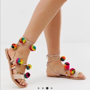 ASOS DESIGN Pom Pom Leather Tie Sandals